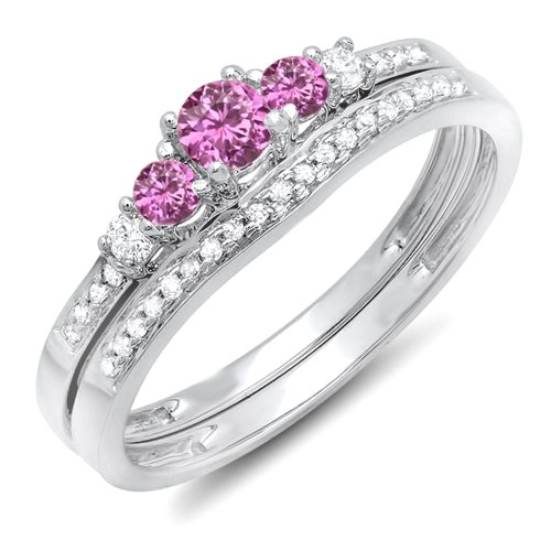 Pink Sapphire White Gold Jewelry Set - 14K White Gold Round Pink Sapphire And White Diamond 5 Stone Bridal Engagement Ring Set (Size 5)