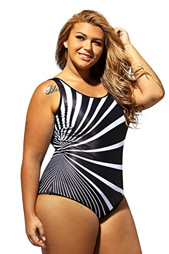 6561580b7 Women One Piece Swimsuits Plus Size Oblique Stripes Color Block Swimwear