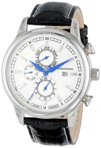 Romanson Men's TL1245BM1WAS2U Classic Swiss Quartz Dual Time Zone Day, Date and Month Function Watch