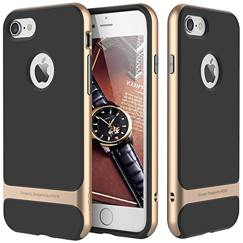 iPhone 6/6s 4.7 Case,ROCK [Royce] Anti-scratch Drop Protection Ultra Thin Slim Fit Dual Layered Heavy Duty Armor Hybrid PC+Soft TPU Protective Shell Case for Apple iPhone 6/6s - Champagne Gold/Black