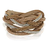 Chuvora Suede Leather & Brown Crystal Glass Studded Woven Multilayer Wrap Wide Cuff Modern Fashion Bracelet