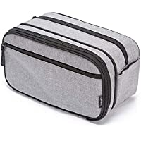 """Toiletry Bag Dopp Kit with Dual Compartments and Handle, Waterproof 4.3"""" x 6.2"""" x 10.2"""" (inches) Gray"""