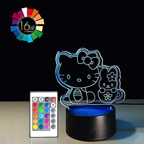 Cartoon 3D Illusion LED Night Light 7 Colors Gradual Changing Touch Switch USB Table Lamp Remote Control Nursery Lights for Gift Home Decorations (Kitty 2 -