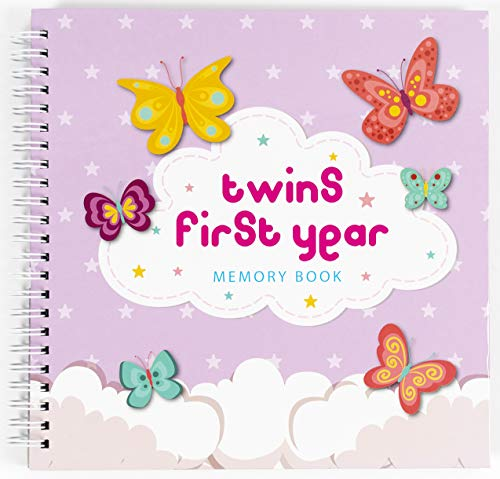 [해외]Twins First Year Hardcover Memory Book Clouds Edition - Newborn Babies 1st Year Journal and Milestones Photo Album - Perfect and Unique Gift Idea for Baby Showers and Birthday Presents / Twins First Year Hardcover Memory Book Cloud...