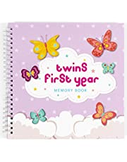 Twins First Year Hardcover Memory Book Clouds Edition - Newborn Babies 1st Year Journal and Milestones Photo Album - Perfect and Unique Gift Idea for Baby Showers and Birthday Presents