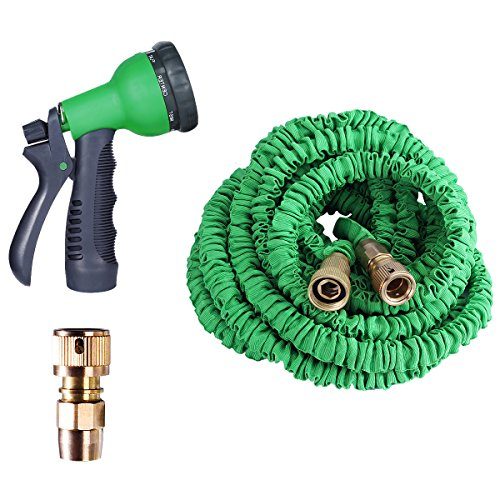 Garden Hose Expandable 100ft with Heavy Duty Double Latex Core and Solid Brass Fittings Includes 8-Function Spray Nozzle