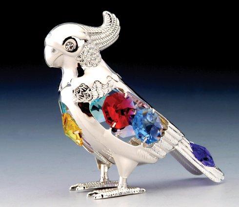 (Parrot Silver Plated Swarovski Crystal Ornament NEW)