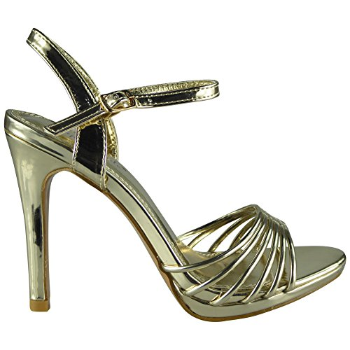 Loud Look Womens Peeptoe Sandals Heels Ladies Wedding Bridesmaid Bridal Party Shoes Sizes 3-8 Gold E4A3Gi
