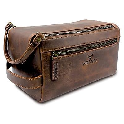 3c5676f95189 good Velino Handmade Genuine Buffalo Leather Unisex Toiletry Bag Travel  Dopp Kit Grooming and Shaving Kit