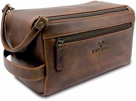 Velino Handmade Genuine Buffalo Leather Unisex Toiletry Bag Travel Dopp Kit  Grooming and Shaving Kit ~ a1fdcb34f4206