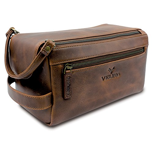 Velino Handmade Genuine Buffalo Leather Unisex Toiletry Bag Travel Dopp Kit Grooming and Shaving Kit ~ Gift for Men Women ~ Hanging Zippered Cosmetic Pouch ~ Bathroom Makeup Case (Bag Toiletry Leather)