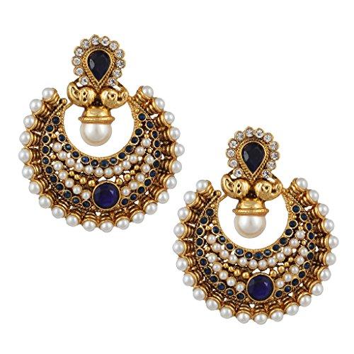 Rich polki and Faux bridal festival india ethnic adiva blue earring PSEAZ013BL ()