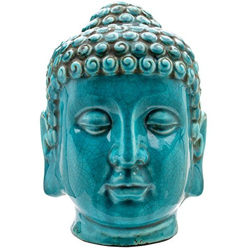 Turquoise Crackle Glaze Thai Buddha Head 25.5 cm by Love Your Gifts by Love Your Gifts