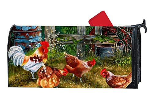 Backyard Living Rooster Decorative Magnetic Mailbox Cover, Vinyl Mailbox Wraps Holiday Standard 6.5 x 19 inches (Holiday Decor Wrap Holly)