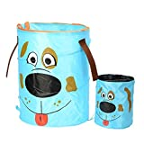 Baby Clothes Hamper with Lid, Pop-up Hamper Collapsible Mesh Laundry Hamper Come with A Samll Car Hamper, Ladybird Cartoon (Green)