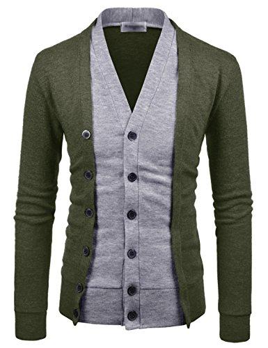 Cardigan Nearkin Button Look 2 Homme Pour Layered Nknkcd139 nbsp;tons khaki Cut Pull Fin 0w0qxrU6