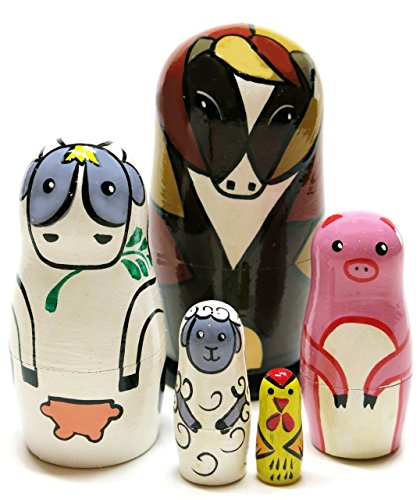 GreatRussianGifts Farm Animals 5-Piece 4.5