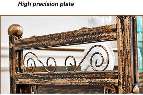 サロントロリーローリングカート 美容カートヨーロピアンスタイルのヘアーサロン美容小引き出しツールレトロで三層ラック スタイリスト美容院 (Color : Multi-colored, Size : 50x35x85cm)