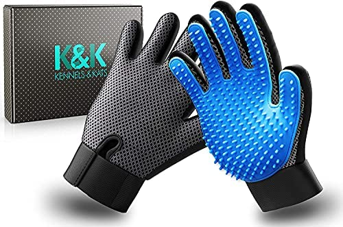 K&K Pet Grooming Glove Set. Premium Deshedding Glove for Easy, Mess-free Grooming of Dogs, Cats, Rabbits and Horses with Long/Short/Curly fur. 1 Pair Gentle Pet Hair Remover Mitt with Storage Bag