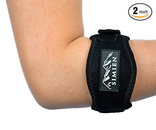Simien Tennis Elbow Brace (2-Count), Tennis & Golfer's Elbow Pain Relief with Compression Pad, Wrist Sweatband and E-Book - Bandit Therapeutic Forearm Band