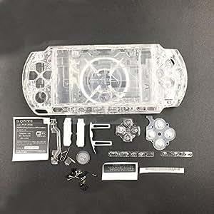 Carcasa completa para Sony PSP 3000 3001 3002 3003 3004, con tornillos y botones transparente