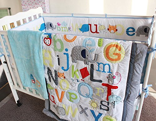 NAUGHTYBOSS Unisex Baby Bedding Set Cotton Early Education 3D Embroidery Letter Elephant Quilt Bumper Mattress Cover Blanket 8 Pieces Multicolor by NAUGHTYBOSS (Image #2)