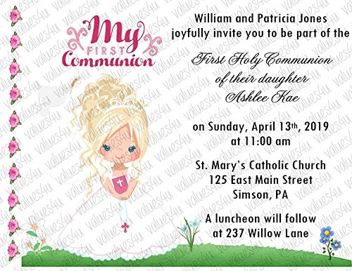 (Personalized Communion Invitations (communion girl1052) (sold in packs of 12))