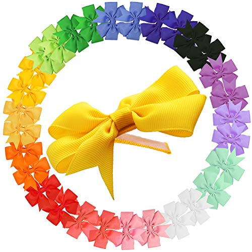 30pcs Lined Toddler Hair Bows, Berabo 3inch Safe Non-Slip Ribbon Hair Bows for Toddler Baby Girls