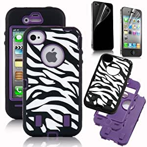 TOOGOO Hard Hybrid Case Cover Black White Zebra Black Silicone TUFF case for Apple iPhone 4 4S + Front and Back Screen Protector
