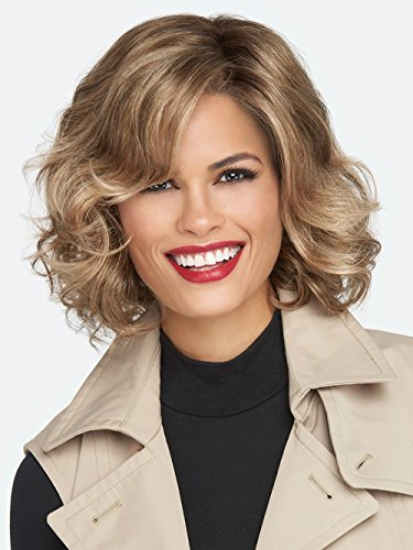 Glazed Sand - Hairdo Hairuwear Raquel Welch Brave The Wave Collection With Shoulder Length Modern Scrunched Soft Wavy Chic Hair, R1621S+ Glazed Sand