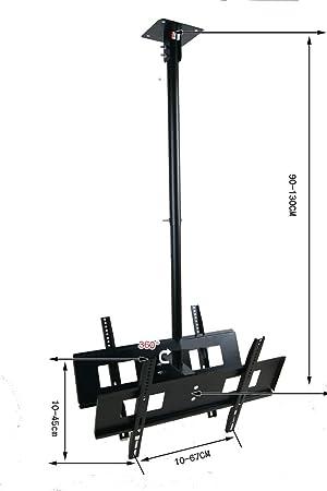 Soporte de Techo para televisor LCD de 30 a 65 Pulgadas, Doble Pantalla, 90 a 130 cm, Giratorio de 360 cm máx. VESA 4567 cm Soporte de Doble TV Percha: Amazon.es: Electrónica