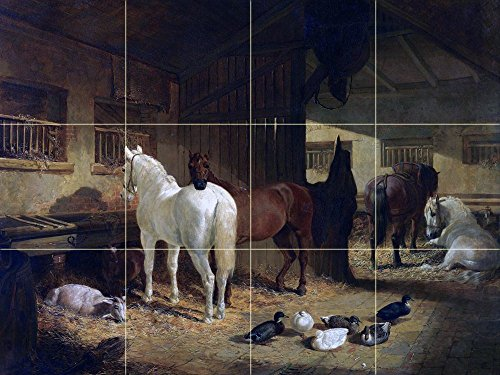 FOUR HORSES IN A BARN by John Frederick Herring Tile Mural Kitchen Bathroom Wall Backsplash Behind Stove Range Sink Splashback 4x3 6'' Rialto by FlekmanArt