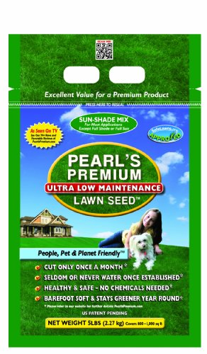 [Pearl's Premium Ultra Low Maintenance Lawn Seed, 5-Pound, Sun/Shade Blend] (Lawn Blend)