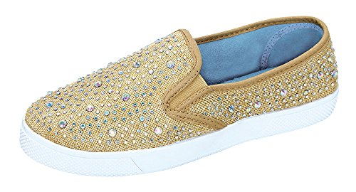 De Blossom Collection Cherry-5 Rhinestone Slip On Flat Sneaker Loafer Gold 7.5