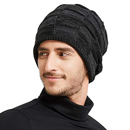 Beanie Hat for Men Winter Warm Hats Knit Slouchy Thick Skull Cap (Black)