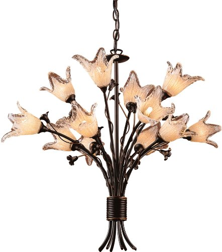 - ELK 7959/8+4, Fioritura Blown Glass 3 Tier Chandelier Lighting, 12 Light Halogen, Aged Bronze