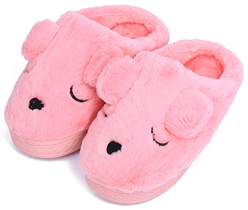 UIESUN Unisex Doggy Toddler Kids Slippers for Boys and Girls Pink 16/17 ()