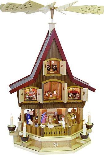 Richard Glässer 3- Tier Adventhouse - Nativity Scene - 30 inch - 77 cm - Authentic German Erzgebirge Christmas Pyramids