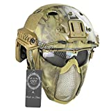 Tactical Fast Helmet with Protect Ear Steel Mask & Goggle Set for Airsoft Paintball Protective Anti-riot Lightweight Helmet