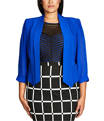 City Blazer (Cropped Coloured Drapey Plus Size Blazer Jacket in Ultra Blue - Size 20 / L)