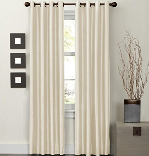 """Awad Home Fashion 2 Piece Solid FAUX SILK BLACKOUT Grommet Window Panel Curtain Drapes with Foam Backing - 37""""W x 84""""L, Beige"""