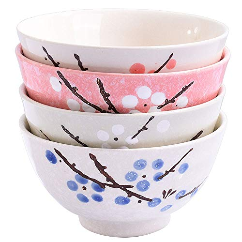 - Asian Rice Bowls Set of 4 Color - Japanese Style Hand-painted Floral Plum Ceramic Bowls For Dessert Snack Cereal Soup and Rice