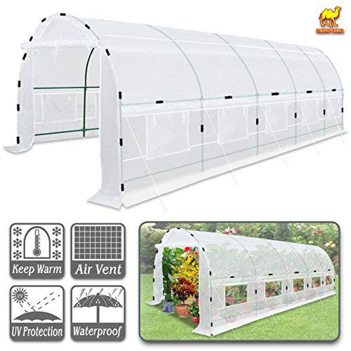 Strong Camel Large Walk-in Plants Greenhouse Portable Garden Hot House w/Combined Cover-White (24.6′ X10'X7′)