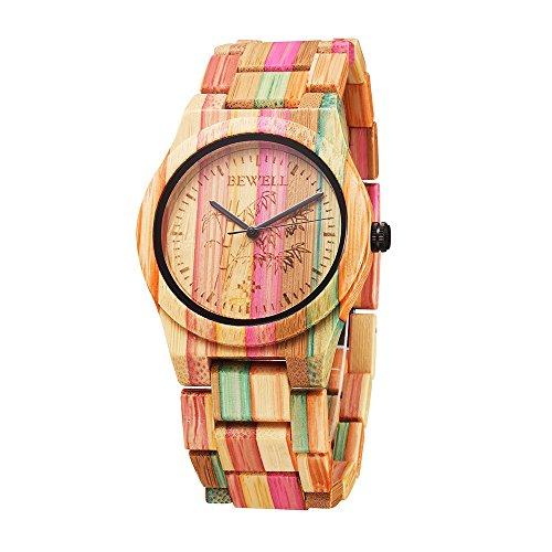 Wood Watch Unisex Women Men Design Handmade Natural Colorful Bamboo Wooden Watch Analog Quartz Wrist Watch ()