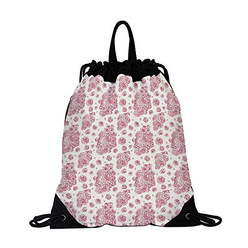 Coral Canvas Drawstring Bag,Peonies English Roses Victorian Bouquet Corsage Blossoms Flourish for Shopping ()