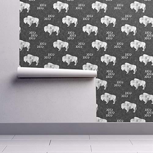 Peel-and-Stick Removable Wallpaper - Buffalo Buffalo Gray White Buffalo Southwest Trendy Boho Monochrome by Littlearrowdesign - 24in x 108in Woven Textured Peel-and-Stick Removable Wallpaper Roll