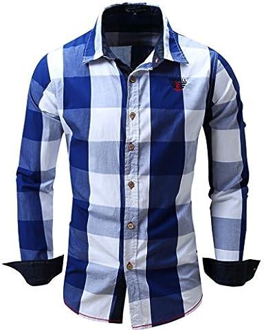 Shirts, Cokle Men Slim Fit Long Sleeve Casual Blouses Plaid Button Down #099 Blue EUR L (US M) - Button Down Plaid Dress Shirt