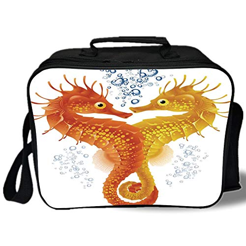 Tropical Animals 3D Print Insulated Lunch Bag,Neon Koi Fish Pair Swimming in the Sea Aqua Fauna Tropic Environment Picture,for Work/School/Picnic,Red Blue