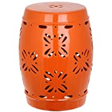 Safavieh Castle Gardens Collection Sakura Orange Glazed Ceramic Garden Stool