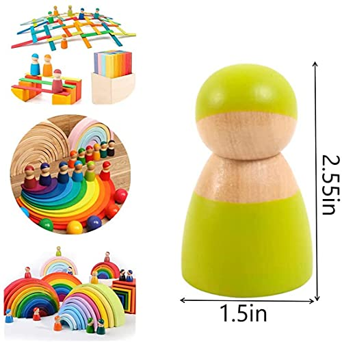 Okasi 12 Wooden Rainbow peg Dolls Friends Wooden Toddler Toys for Boys Girls Wooden Pretend Play People Figures for Preschool Kids Learning Educational Toys Montessori Toys